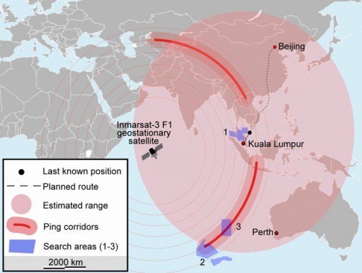 Possible MH370 paths on the earth's surface