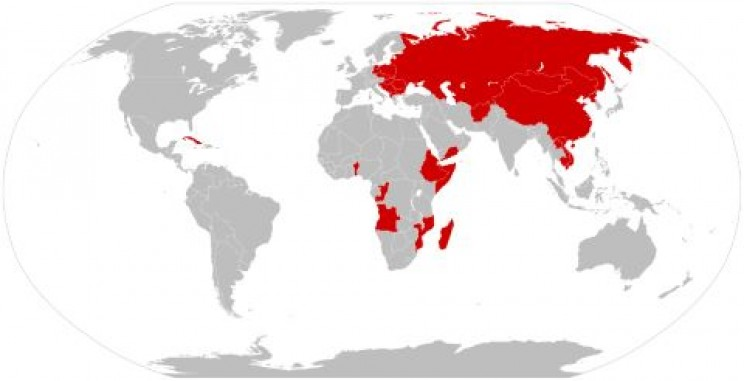 Map of socialist states between 1979 and 1983