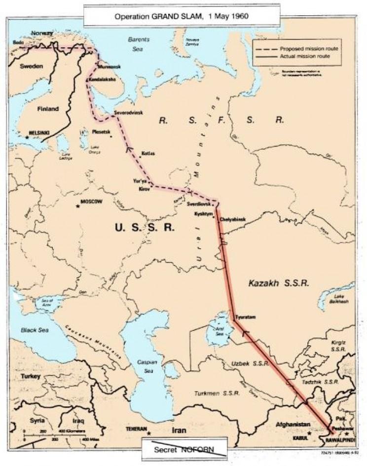 Map of Powers's flight plan