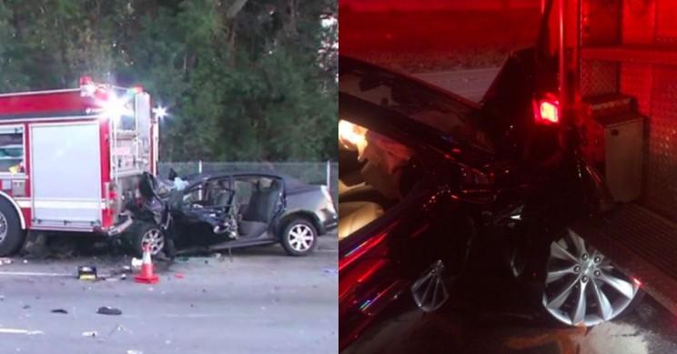 Suspected Drunk Driver Crashes His Tesla Into Parked Fire Truck, Blames Autopilot