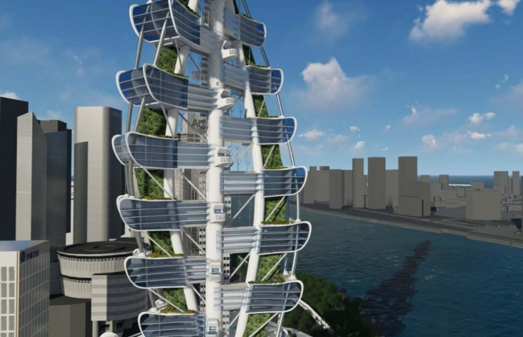 This Super Green Tower Will Feature a Landing Pad for Your Flying Car