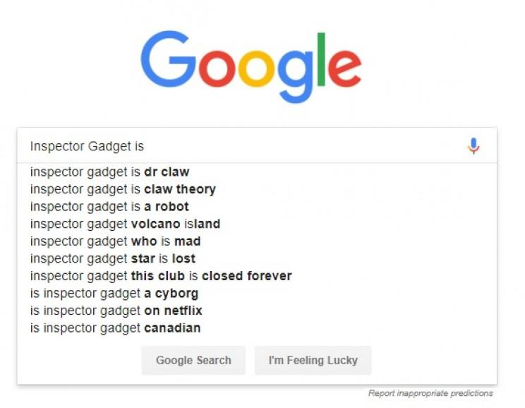 Inspector Gadget Tech Predictions predictive text