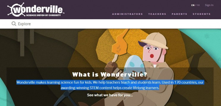 interactive science websites wonderville