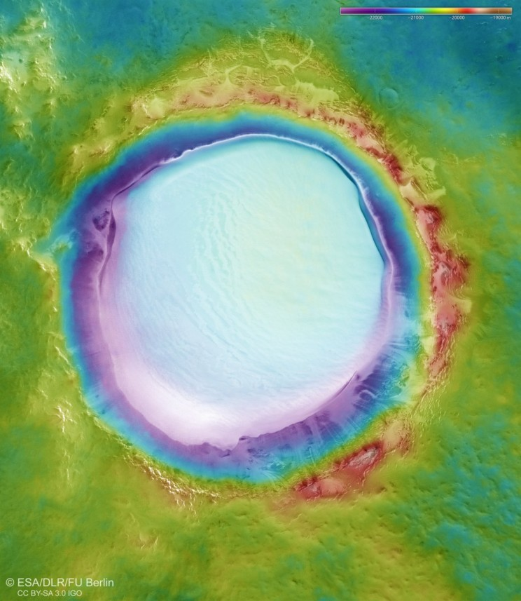 Martian Crater 'Decorates' for Holiday Season with Massive Patch of Fresh Ice