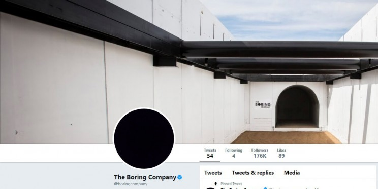 The Boring Company Twitter Account