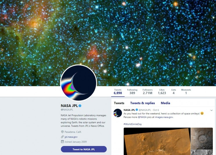 NASA JPL Twitter Account