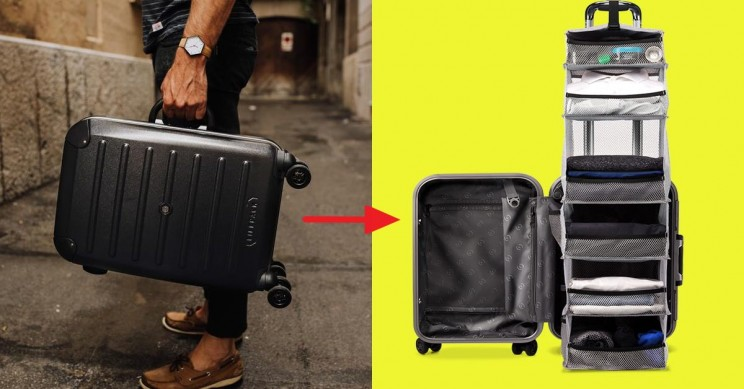 This Clever Carry-On Suitcase Has Its Own Retractable Shelving System