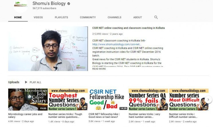 biology youtube channels Shomu