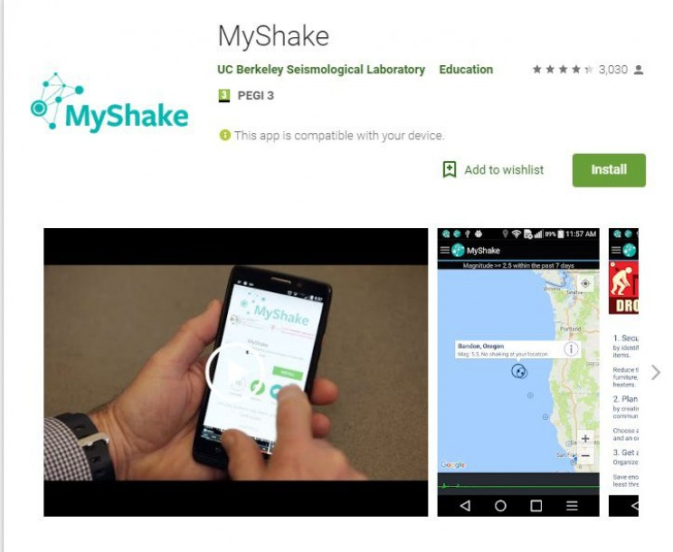 science apps for smartphones MyShake