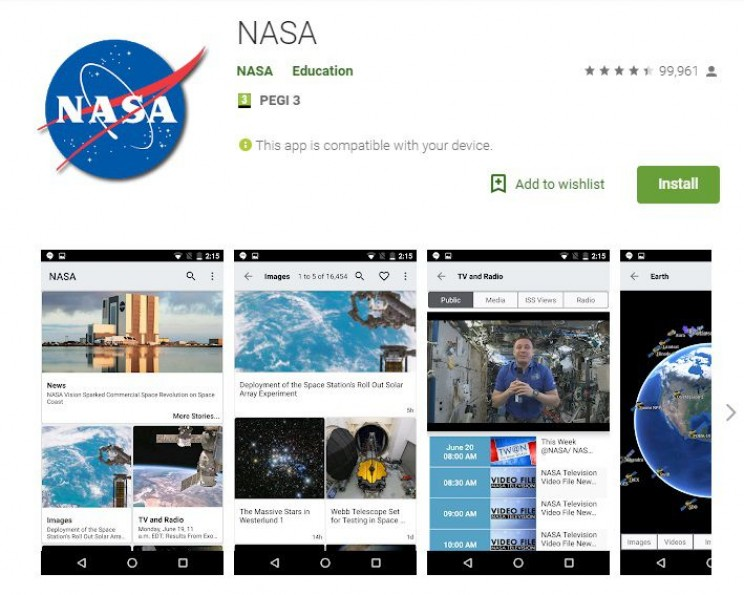 science apps for smartphones NASA