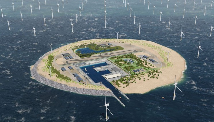 Dutch Utility Plant Plans to Build a Giant Wind Farm Island in North Sea