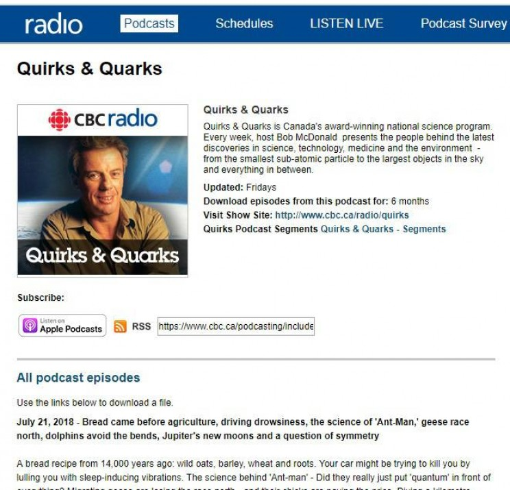 Quirks and Quarks Science Podcast