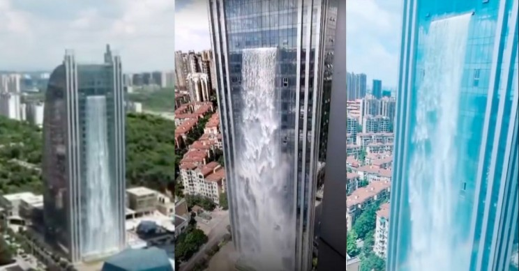 China Now Has a Skyscraper Featuring the World's Biggest Man-Made Waterfall