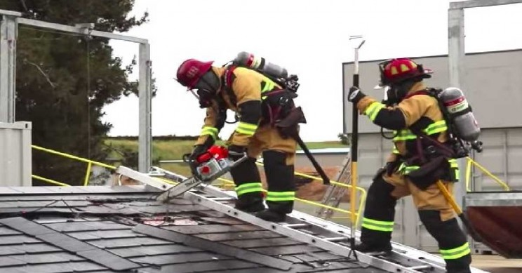 Tesla Solar Roof Gets Safely Dismantled by Firefighters in Training Video