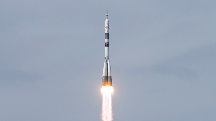 Soyuz Rocket Launched to International Space Station with Three Astronauts