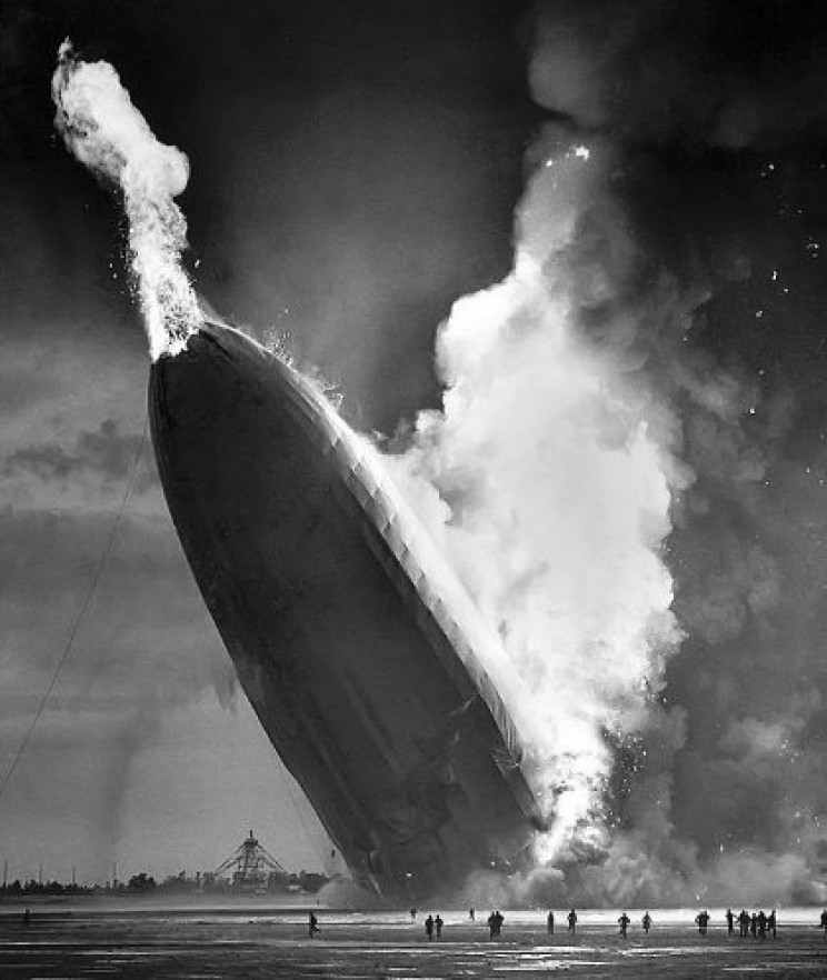 Hindenburg crashing into the ground