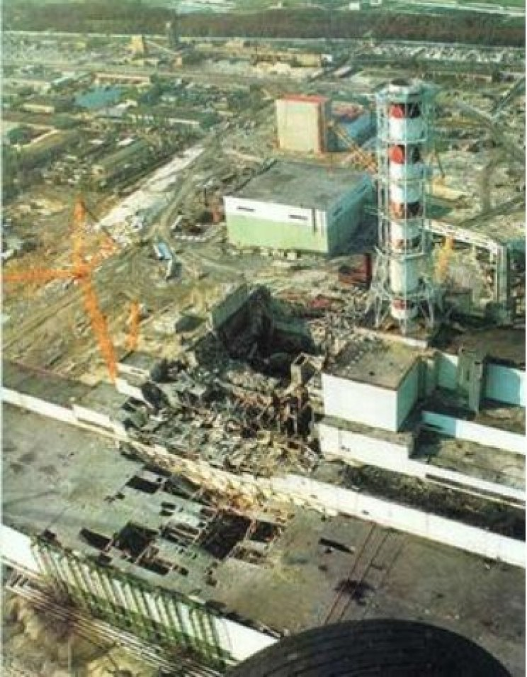 Reactor No. 4 roof collapsed