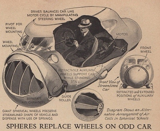 Car of the Future from 1935 Featured Giant Spheres in Place of Wheels