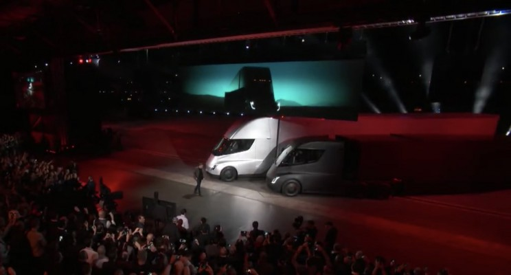 Tesla Finally Debuts Long-Awaited Semi Truck, Surprises Crowd with New Roadster