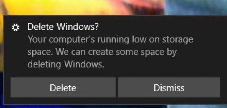 Even Windows thinks deleting itself is a good idea.