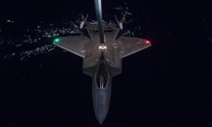 An F-22 Levels a Drug Lab as Part of its First Combat Mission in Afghanistan