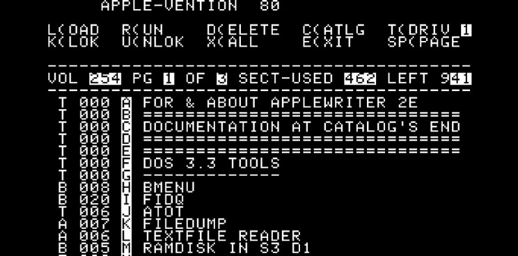 Apple Writer IIe Interface