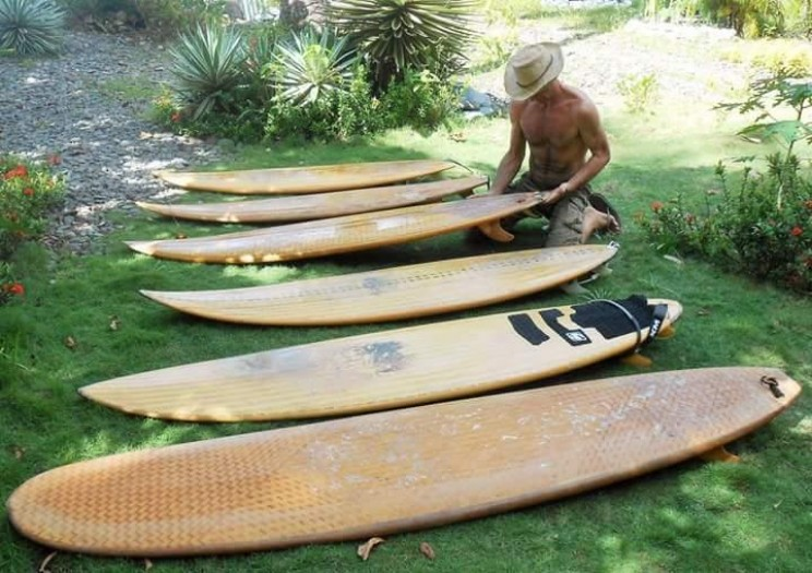 Bamboo surfboards are fast, light and flexible