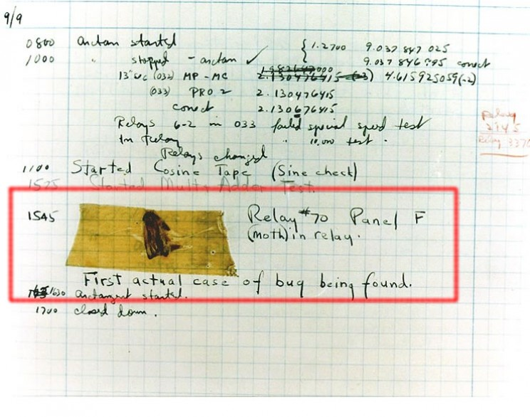 First record of the term computer bug