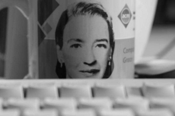 Grace Hopper mug and keyboard