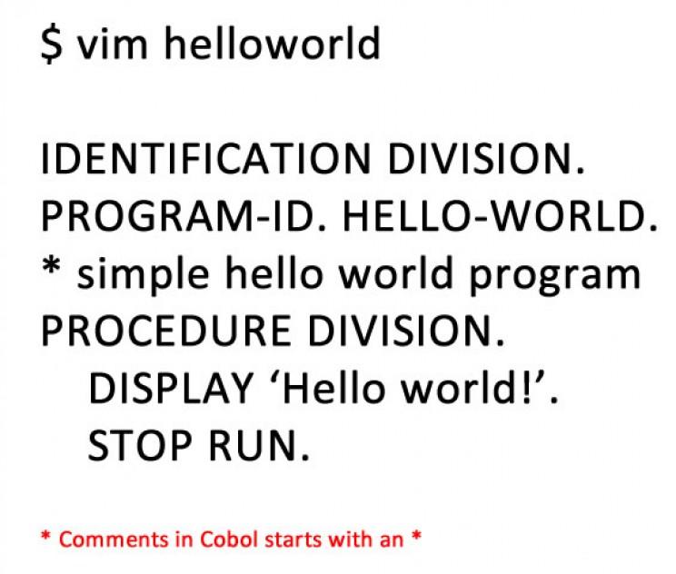 Grace Hopper COBOL code for Hello World