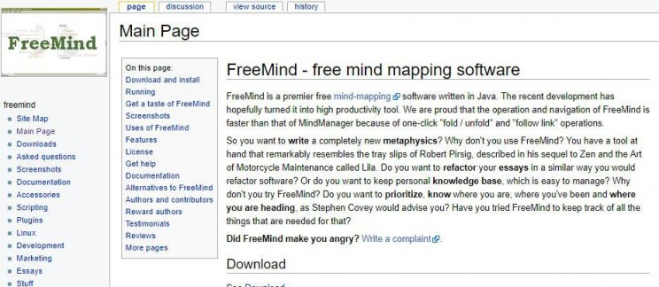 Mind mapping Freemind app