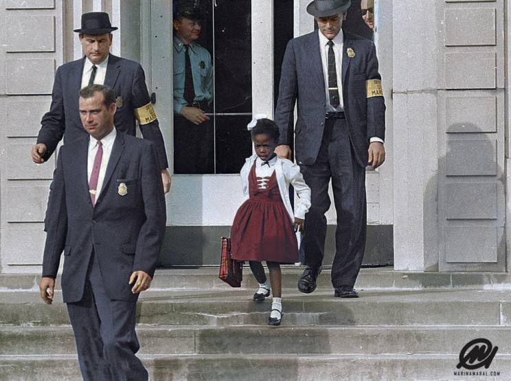 Ruby Bridges Escorted By U.S. Marshals To Attend An All-White School, 1960.