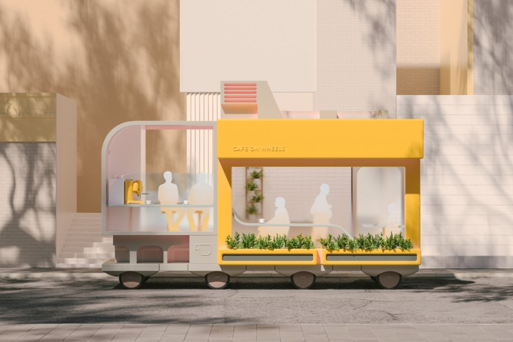 ikea space10 spaces on wheels self-driving cars  cafe coffee