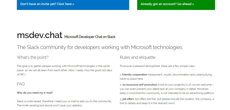 MS Developers Slack Community