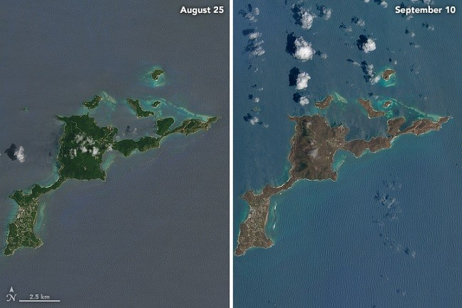 Satellite Images Show Caribbean Islands Turned Brown by Hurricane Irma