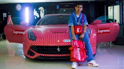 This 15-Year-Old Rich Kid From Dubai Just Got His Ferrari Wrapped in Louis Vuitton Print