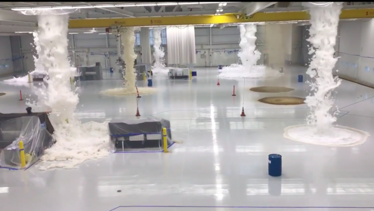 Massive Helicopter Hangar Fills Up With Fire-Suppressant Foam For Emergency Test