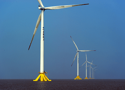 February 19, 2013 - Rudong Offshore 1 Wind Farm (Longyuan Rudong Offshore Intertidal Wind Farm), Siemens 2.3 MW Offshore Wind Turbines, Rudong County, Jiangsu Province, China. (Photo from Siemens AG)