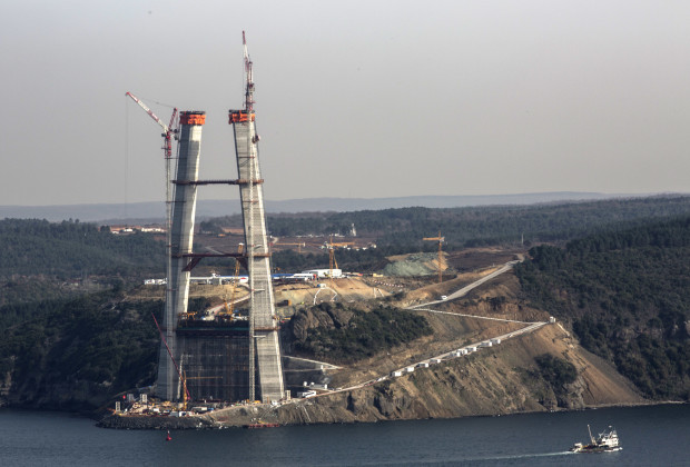 A view from the Bosphorus of the Asian leg of the Third Bosphorus Bridge. Construction began at the end of May, 2013 and is progressing rapidly. PHOTO BY JODI HILTON/VOCATIV
