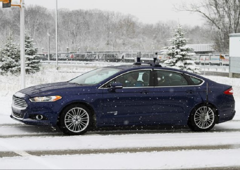 ford blue in snow
