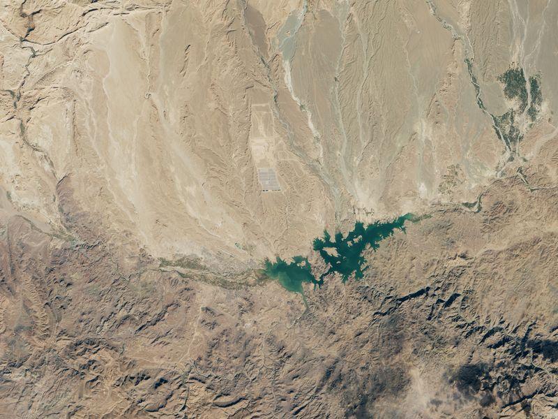 aerial solar farm desert