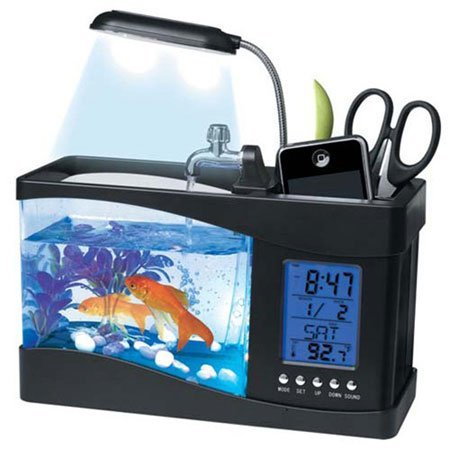 desk fish tank organizer