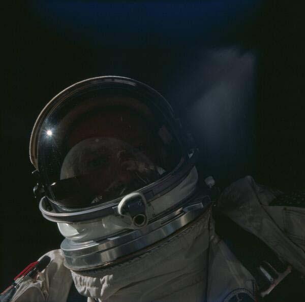 10. Buzz Aldrin taking a selfie in space (1966)
