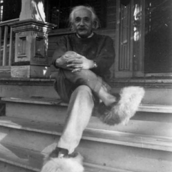 4. Einstein and his furry shoes.