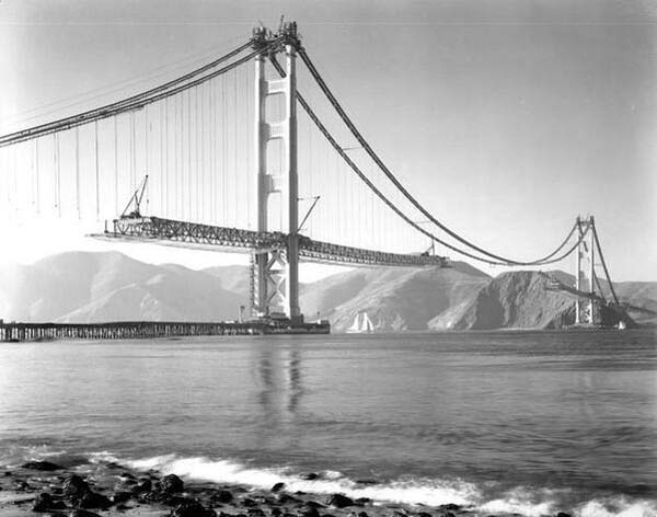 8. The construction of the Golden Gate bridge in San Francisco (1937)