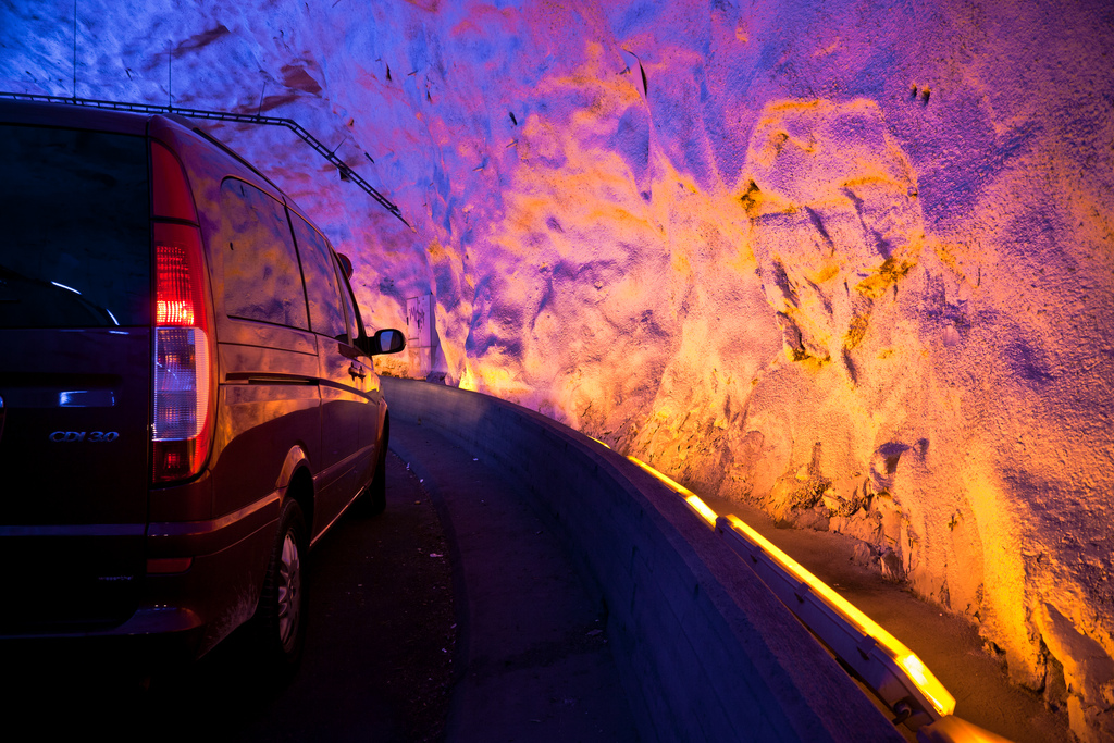 colorful lighting tunnel van