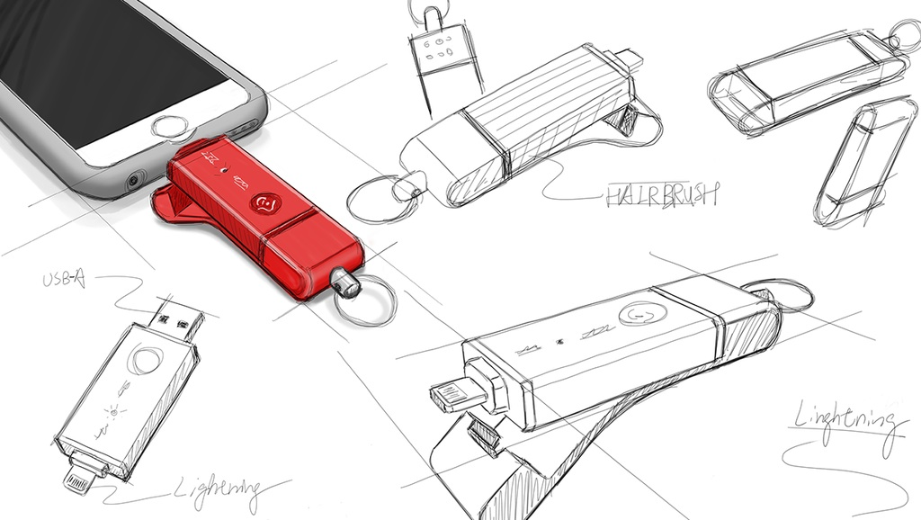 iKlips storage device design iPhone