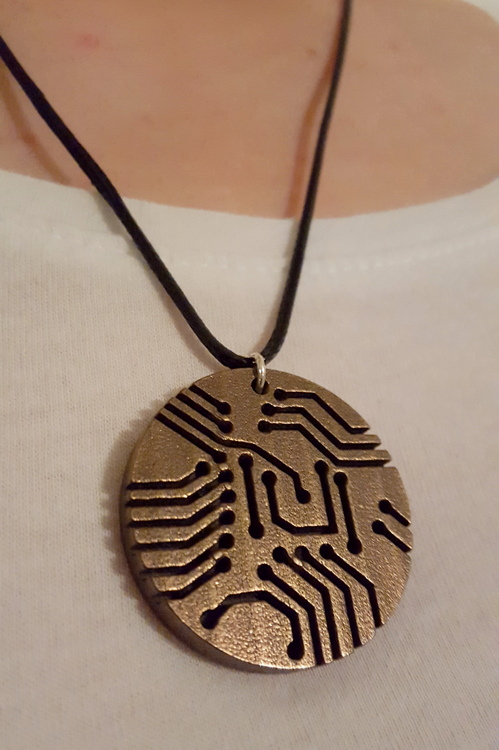 3D Printed Bronze Steel Circuit Board Necklace