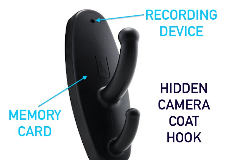 Hidden camera coat hook