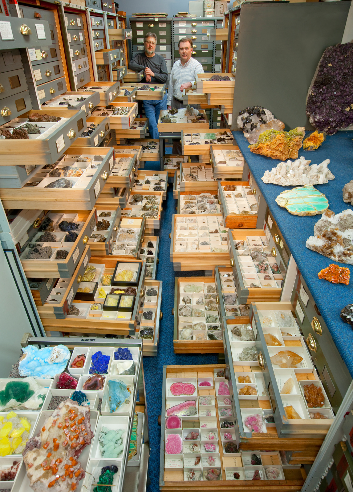An assortment of mineral specimens from the Department of Mineral Sciences' collections are displayed in the storage vault known as the